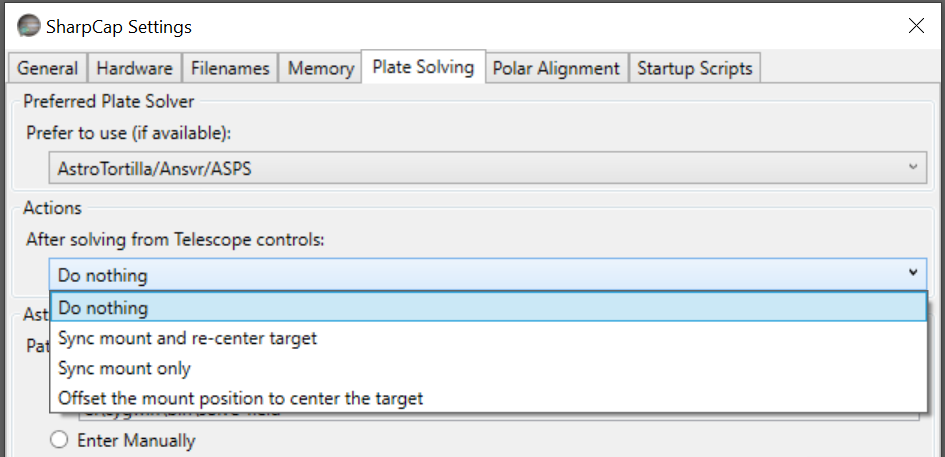 Setting in SharpCap for action after plate solving